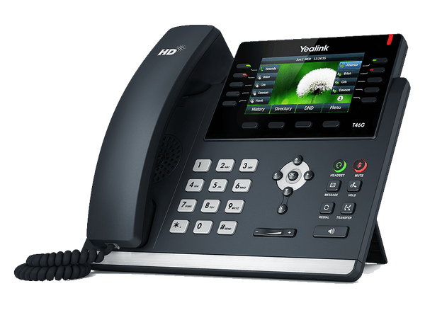T46 Gigabit phone. Powered by our custom firmware allowing for an extended and flexisble set of features unlike any other cloud system.