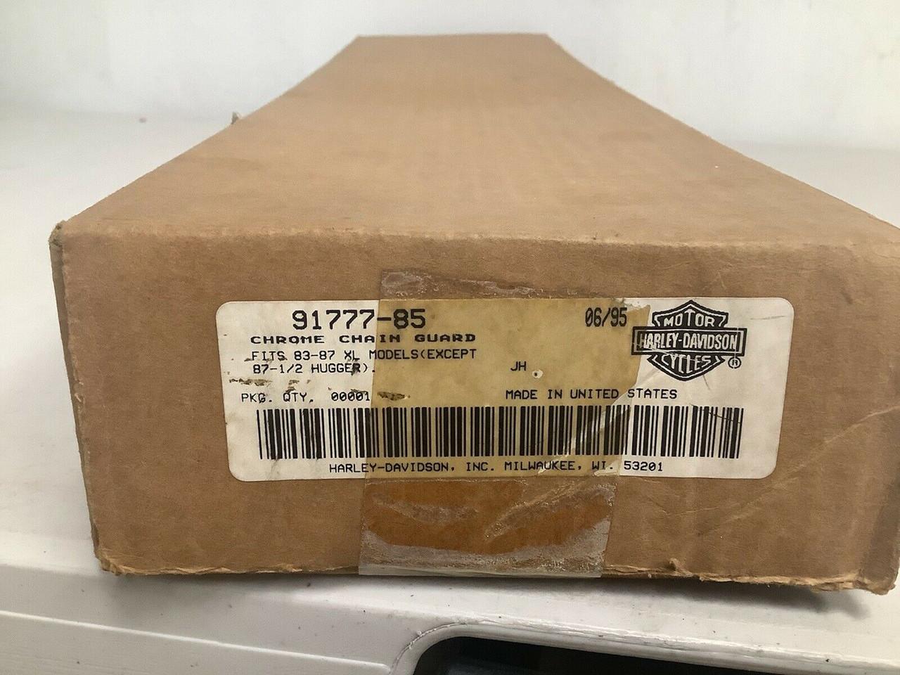 NOS HARLEY-DAVIDSON CHROME CHAIN GUARD 91777-85 SPORTSTER 83-'87 XL MODELS, shopthegarage.com, shop the garage, coolintocash.com, cool into cash, Bingo's Swap Meet Garage