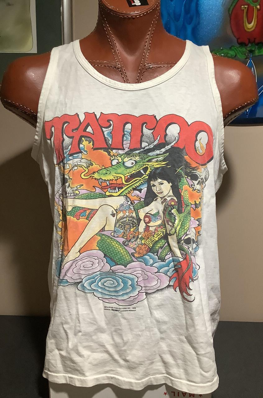 RARE Original Vintage 1989 Easyriders Tattoo Men's Tank Top size XL MADE IN USA, coolintocash.com, shopthegarage.com, cool into cash, shop the garage, bingo's swap meet garage