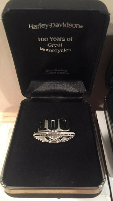 3 Original Harley-Davidson 100th Anniversary Sterling Pins with Boxes