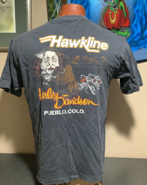 Vintage 80's Harley-Davidson t-shirt , Ridin The Wind , Hawkline H-D Pueblo Colorado sz XL MADE IN USA, coolintocash.com, shopthegarage.com, coolintocash, shop the garage, Bingo's Swap Meet Garage