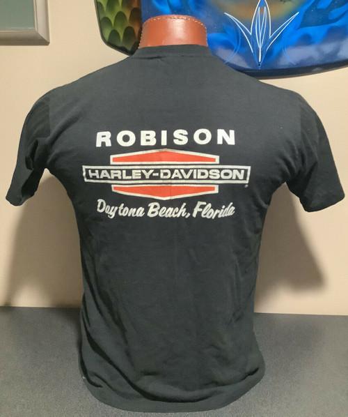 Vintage 1986 Daytona Bike Week Robison Harley-Davidson t-shirt ,  sz L MADE IN USA, coolintocash.com, shopthegarage.com, coolintocash, shop the garage, Bingo's Swap Meet Garage