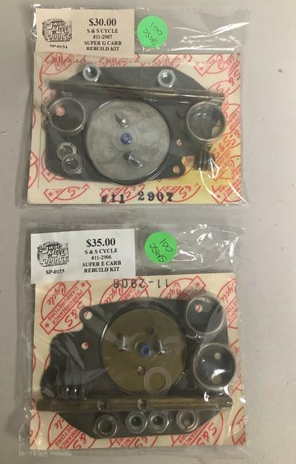 NOS S&S Cycle Super E & Super G Carb Rebuild Kits BOTH KITS 11-2906 & 11-2907 , shopthegarage.com, shop the garage, coolintocash.com, cool into cash, Bingo's Swap Meet Garage