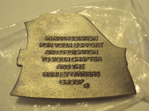 Harley-Davidson 2006 HOG appreciation pewter plaque with stand