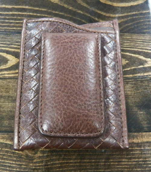 Cole Haan brown leather  card wallet with built-in money clip (preowned)