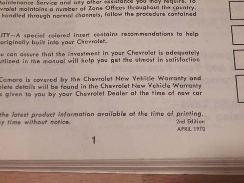 1970 Chevrolet Camaro original owners manual 2nd edition (used)