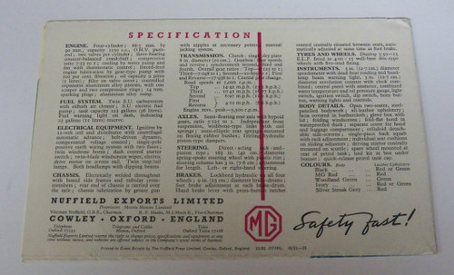 Original  Early 1950's MG Safety First Fold-Out Brochure  color, publication NEL. 235A