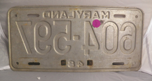 1951  Maryland License Plate (silver)  604-597 with metal year tag (Single)