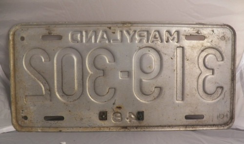 1951  Maryland License Plate (silver)  319-302 with metal year tag (Single)