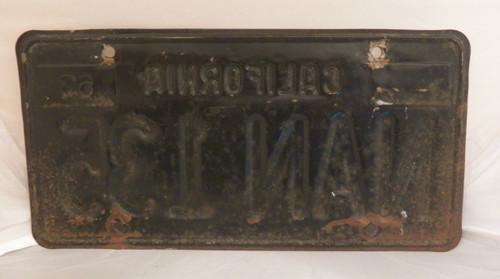 1963/64 California license plate NAN 135 (single)