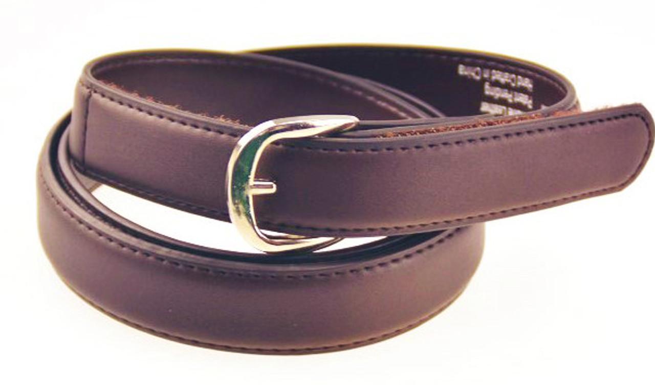 Kids Brown Leather Uniform Belt - EZBuckleBelts