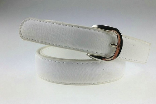 White Leather Belt with Round Buckle
