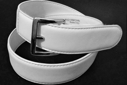 1.3 in wide white leather belt made with genuine leather