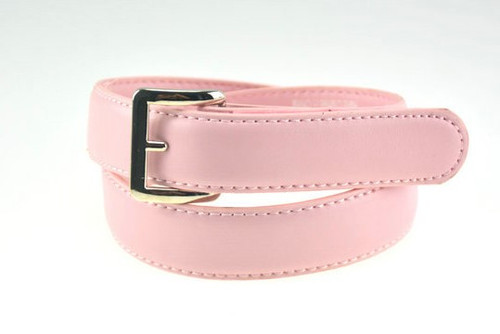 Pink Leather Belt with Square Buckle