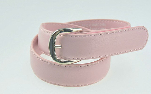 Pink Leather Belt with Round Buckle