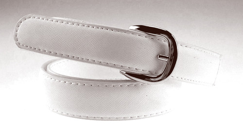 Kids White Leather Uniform Belt - Round Buckle