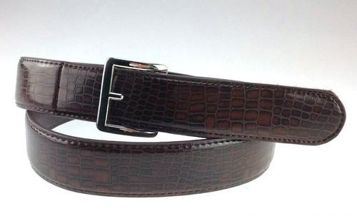1.3 inch wide Genuine Leather Belt in Brown Alligator Texture