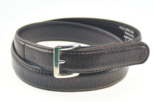 Brown Genuin Leather Belt Alligator Texture with Square Buckle