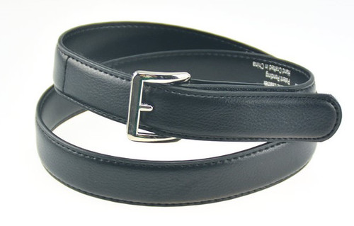 Black Leather Belt Textured Finish with Square Buckle