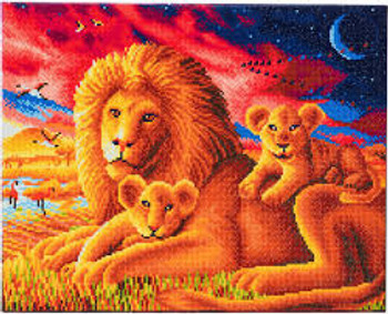 Crystal Art Canvas Large Lion Family