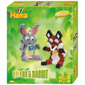 Hama Beads Rabbit an Fox