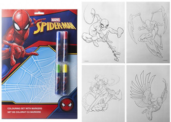 Spider man Colouring set with markers