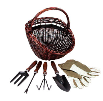 Gardening Basket with Tools and Gloves