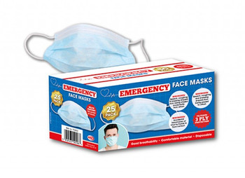 Emergency face masks box of 25