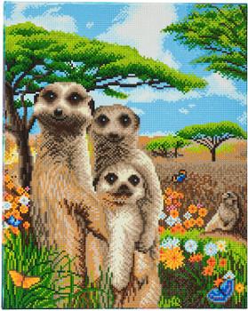 Crystal Art Meerkat Family Canvas