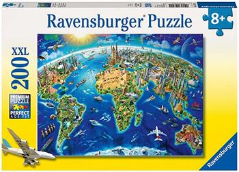 Ravensburger 200xl piece jigsaw world landmarks map