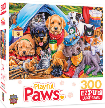 Masterpieces Puzzle Playful Paws Camping Buddies Ez Grip Puzzle 300 pieces