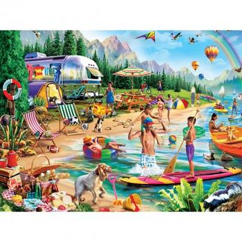 Masterpieces Puzzle Campside Day at the Lake EZ Grip Puzzle 300 pieces