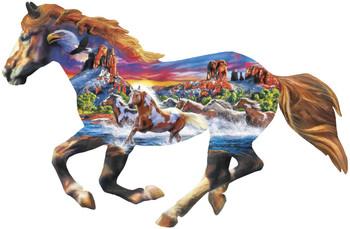 Masterpieces Puzzle Contours Shaped Running Horse Shape Puzzle 1000 pieces