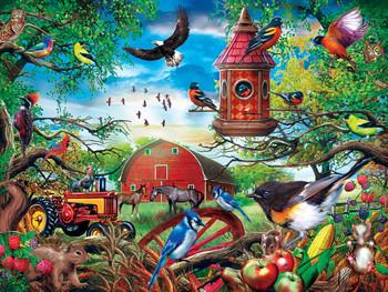 Masterpieces Puzzle Green Acres Farmland Frolic Ez Grip Puzzle 300 pieces