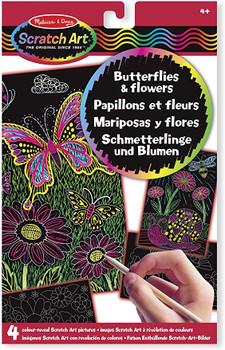 Scratch art Butterflies & Flowers