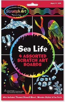 Scratch art sea life