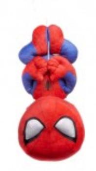 Spider-Man hanging upside down