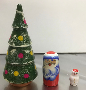 Xmas tree 2 piece. Wooden hand painted