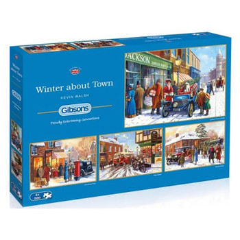 Winter about town 4 x 500 pieces jigsaw Gibson's