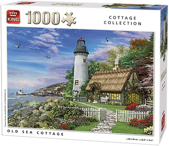 King old sea cottage with light house 1000 piece jigsaw
