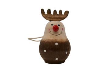 Hanging reindeer ornament wooden