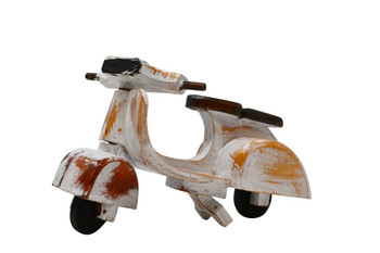 Vespa white wooden bike