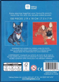 Double sided jigsaw 100 piece jigsaw French Bulldog