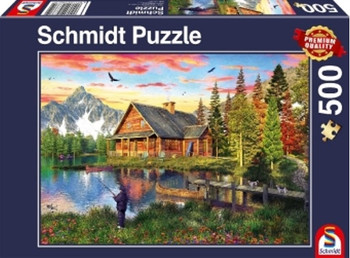 Schmidt 500 piece jigsaw fishing at the lake