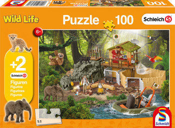 Schleich 100 piece jigsaw with 2 figures croc research station