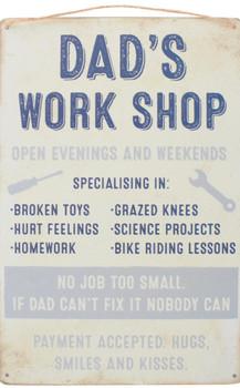 Dads workshop tin sign