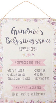 Grandmas babysitting service tin sign