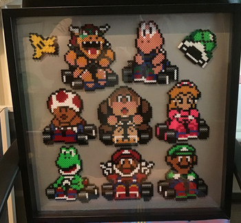 Hand made Hama bead picture with Mario characters