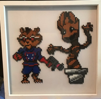 Homemade Hama bead picture groom and Rocket