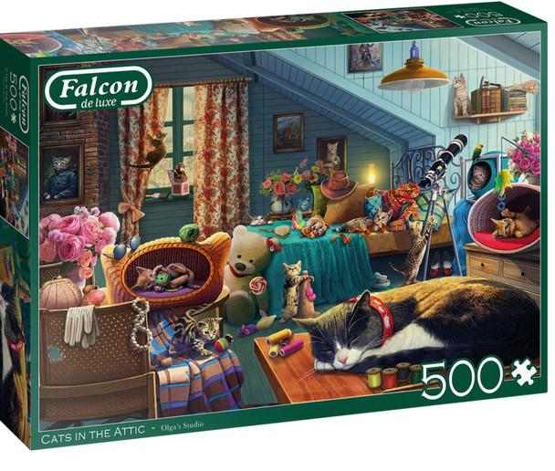 Falcon 500 piece jigsaw cats in the attic